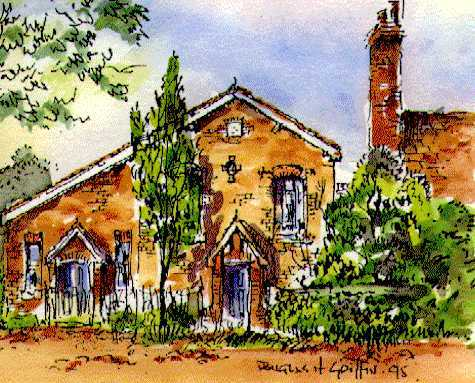 Watercolour of Copthorne Chapel, by Douglas Griffin, 1995